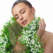 Royalty-Free Stock Photo: Pretty naked woman in flowers chaplet