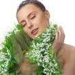 Pretty naked woman in flowers chaplet - Stock Photo