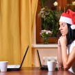 Lonely pretty woman is waiting her friend at christmas — Stock Photo