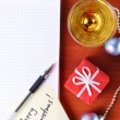 Top view of a christmas workplace — Stock Photo