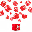 Stock Photo: Flying red gift boxes