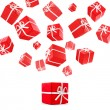 Flying red gift boxes — Stock Photo