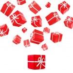 flygande röda presentförpackning — Stockfoto