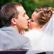Stock Photo: Just married couple is kissing