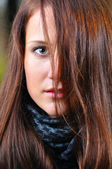 Close up portrait of a beautiful young woman — Stock Photo