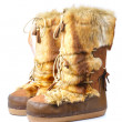 Furry winter boots isolated on white — Stock Photo
