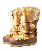 Stivali di pelliccia inverno isolati su bianco — Foto Stock
