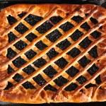 Blueberry pie on baking tray — Stock Photo