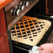 Woman is cooking a blueberry pie in home oven — Stock Photo