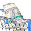 Bundle of dollars is watching out of shopping cart — Stock Photo