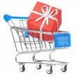 Royalty-Free Stock Photo: Closeup of a shopping cart with gift