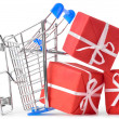 Crashed shopping cart with a lot of gifts — Stock Photo