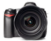 Professional digital photo camera with huge standart lens isolat — Stock Photo