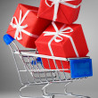 Cart with gifts — Stockfoto