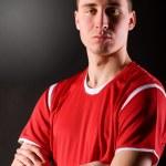voetbalspeler in donker — Stockfoto #5029841
