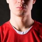 Soccer player in dark — Stock Photo #5029861