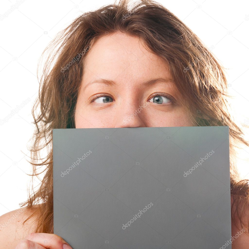 Crazy funny caucasian woman is holding grey plate — Stock Photo #5339389