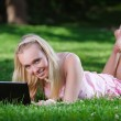 Stock Photo: Young womusing laptop in park