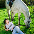Young Lady and the horse — Stock Photo