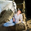 Young Lady and the horse - Stock Photo