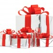 Silver gift boxes — Stock Photo