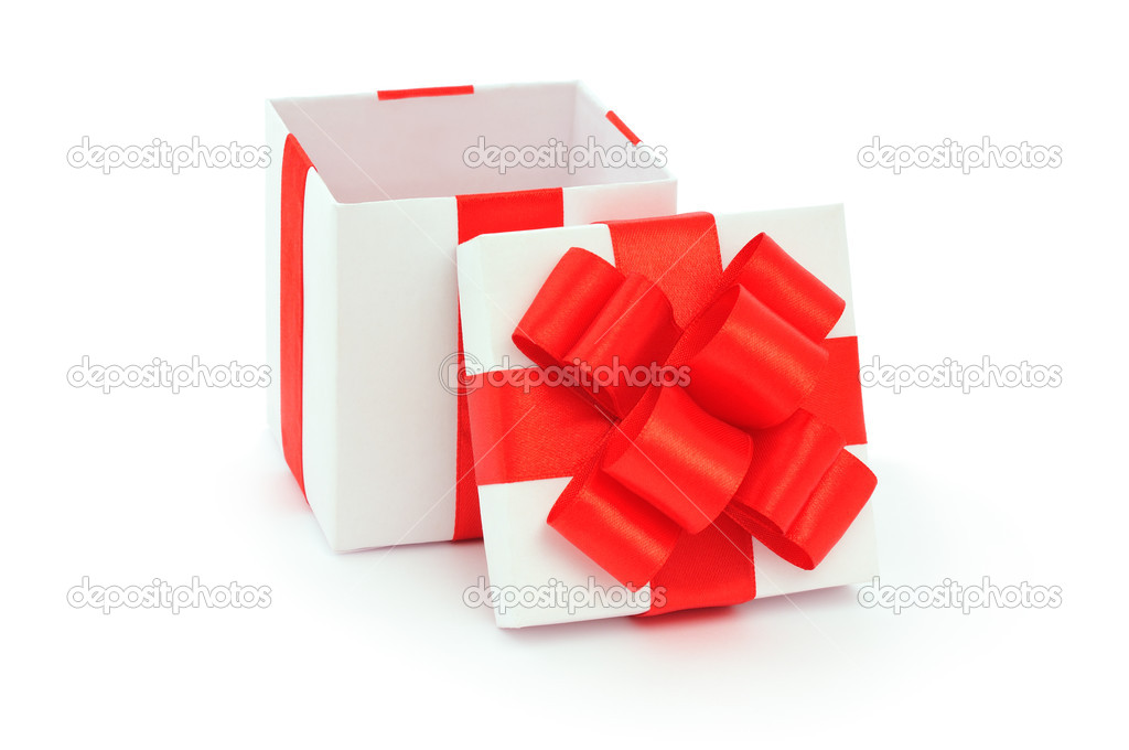 Top View Open Gift Box Open Empty Gift Box And Red