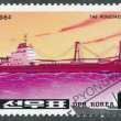 Stamp shows image of a The Pongdaesan   ship — Stock Photo