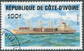 Stamp shows image of a container ship — Stock Photo