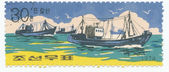 Stamp shows image of a ship — Stock Photo