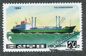"""Stamp printed in NORTH KOREA shows image of a """"The Ryongnamsan"""" — Foto Stock"""