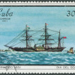 Stock Photo: Stamp printed in Cubshows image steamboat