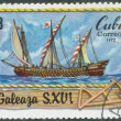 Stamp shows image galley — Stock Photo