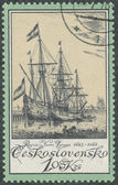 Stamp printed in Czechoslovakia ships — Stock Photo