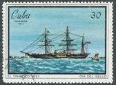 Stamp printed in Cuba shows image steamboat — Stock Photo
