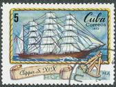 Známka vytištěna na kubě ukazuje obrázek clipper — Stock fotografie