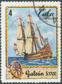 Stamp shows image galleon — Stock Photo