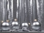 Christmas decorations ball on a silver background — Stock Photo