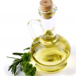 Branch rosmarinus, parsley  and a bottle of vegetable  oil - Foto Stock