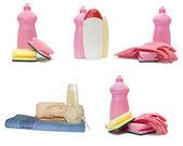 Zbiór różnych butelek z tworzyw sztucznych — Zdjęcie stockowe