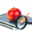 Magnifying glass, pencil and red apple on spiral notebooks — Stock Photo