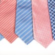 Selection of silk neckties over white background — Stock Photo