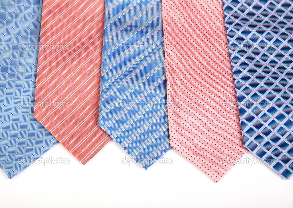 Selection of silk neckties over white background — Stock Photo #5112563