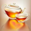 Glass teapot and cup with tea with love — Stock Vector