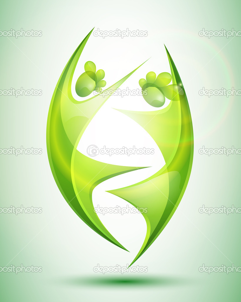 Eco-icon with green dancers  Stock Vector #5241329