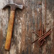 Old rusty nails and hammer — Stock Photo