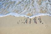 Inscription on sand — Stock Photo