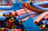 Colorful plastic pipes — Stock Photo