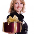 Stock Photo: Womwith gift
