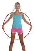 Woman with hula hoop — Stockfoto