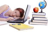 Fall asleep girl done her homework — Stock Photo